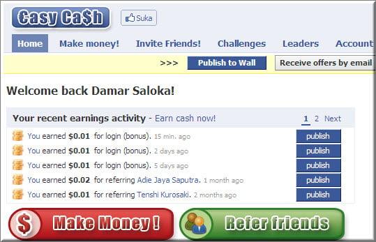 Penghasilan Dollar Gratis dari EasyCash di Facebook