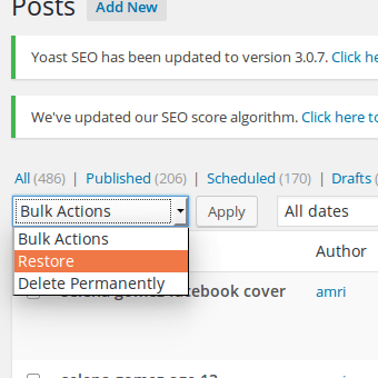 Restore trash to draft WordPress