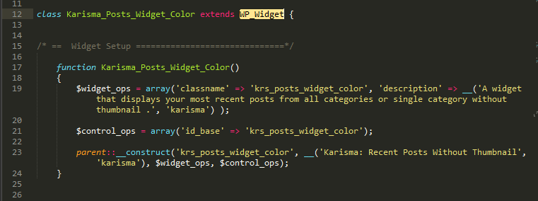 Wordpress notice wp_widget code